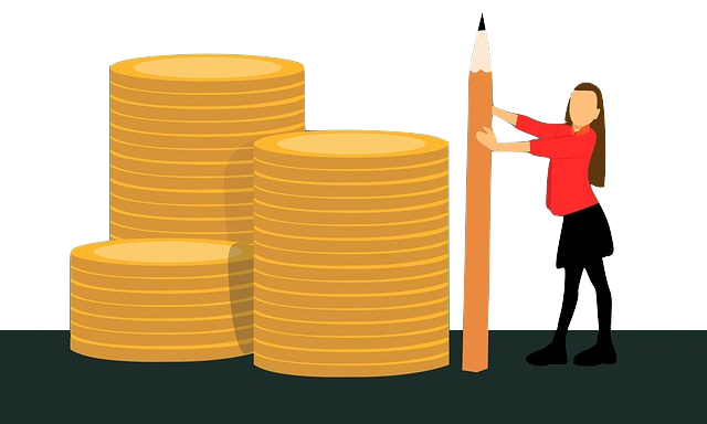 illustrated woman holding a pencil next to a stack of gold coins