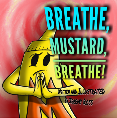 The character mustard stands with his hands together in prayer pose in front of a red spiral