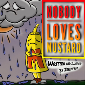 The character of Mustard stands in the rain looking sad