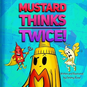 The character of Mustard looks between tiny devil and angel mustard bottles over his shoulders