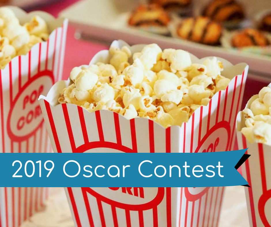 """Popcorn with a banner that says """"2019 Oscar Contest"""""""