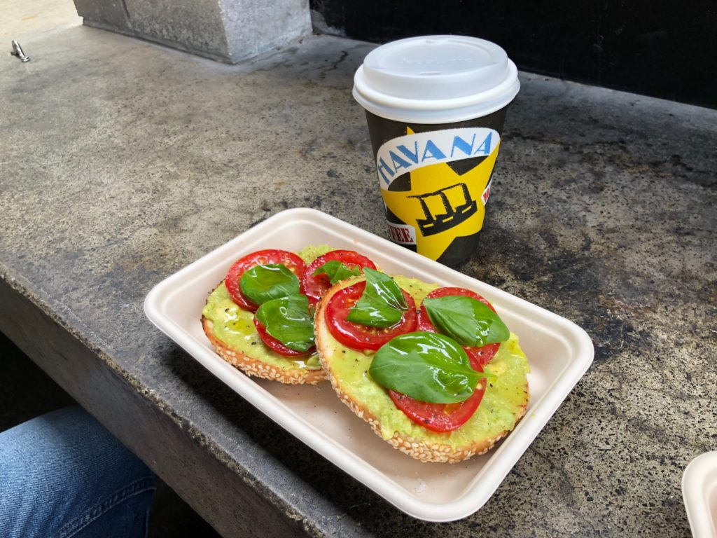 T.A.B. (tomato, avocado, basil) bagels with lemon oil and an American-sized black coffee