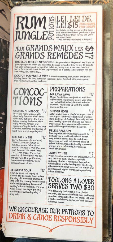 Drink List aka Rum Jungle Potions
