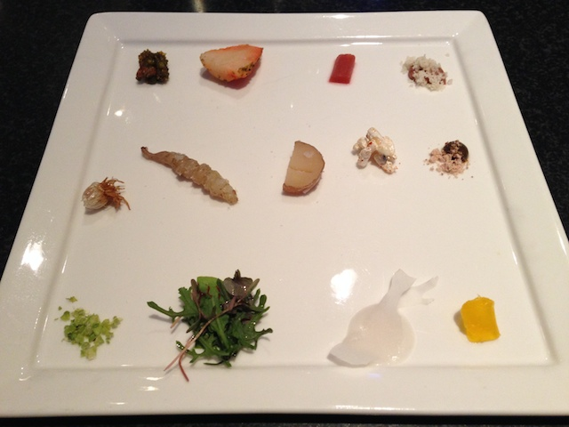 "This was the ""menu."" A tiny sample of an ingredient from each dish to follow"