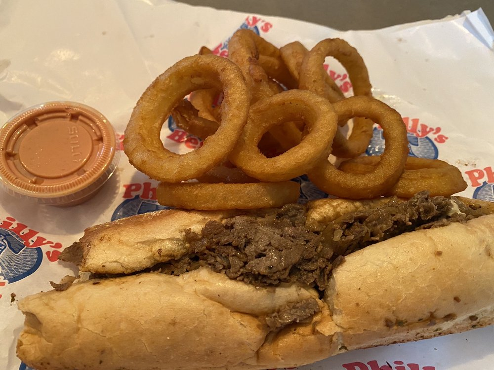 Original Philly Cheese Steak and onion rings