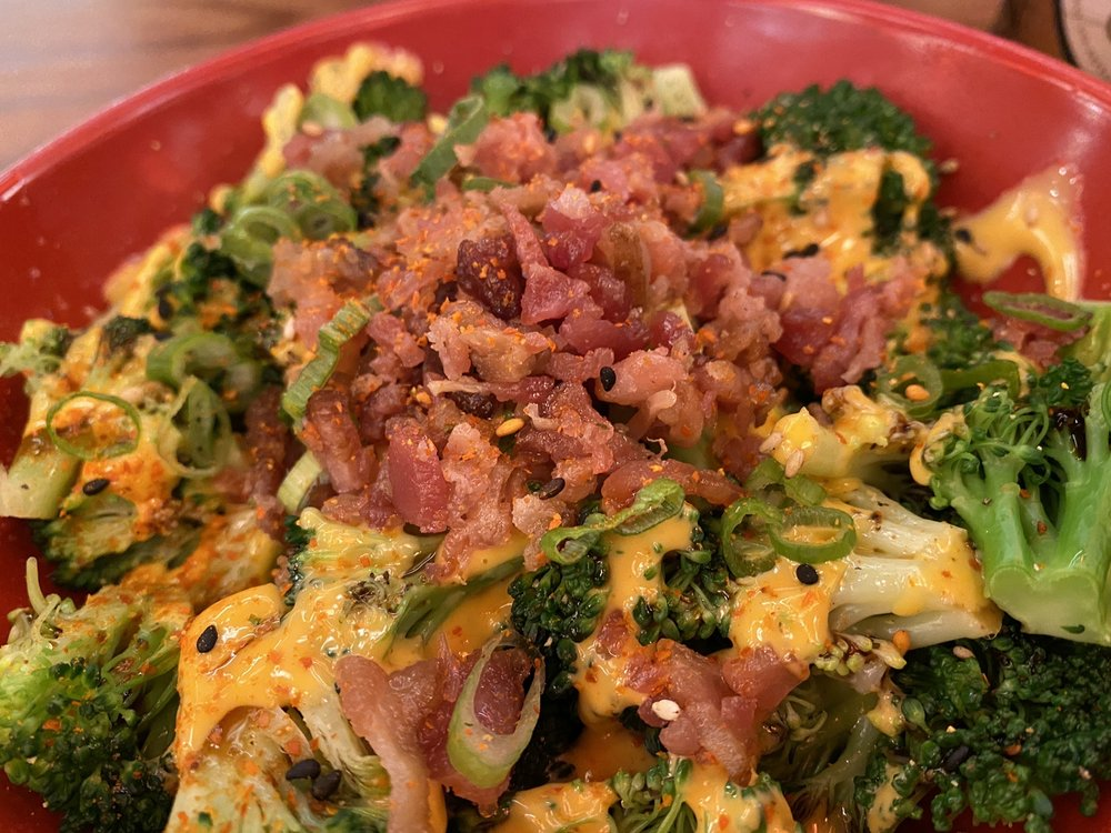 Sriracha Broccoli with Bacon Bits