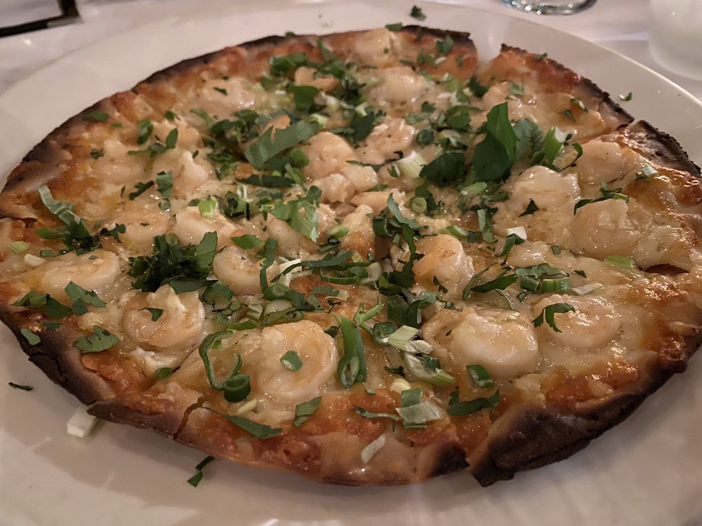 Rock shrimp pizza